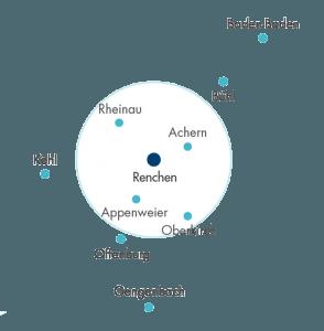 Umgebung von Renchen mit Achern, Rheinau, Bühl, Oberkirch,Appenweier, Offenburg
